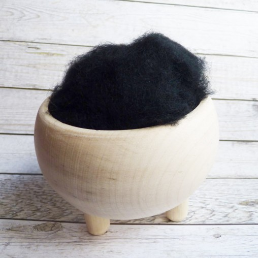 10g CARDED WOOL 'BLACK'