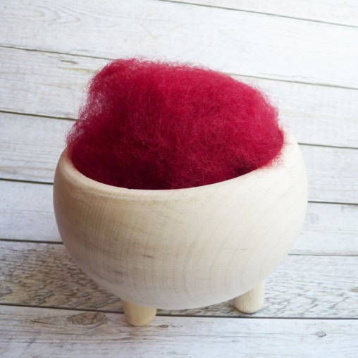 10g CARDED WOOL 'ROSE RED'