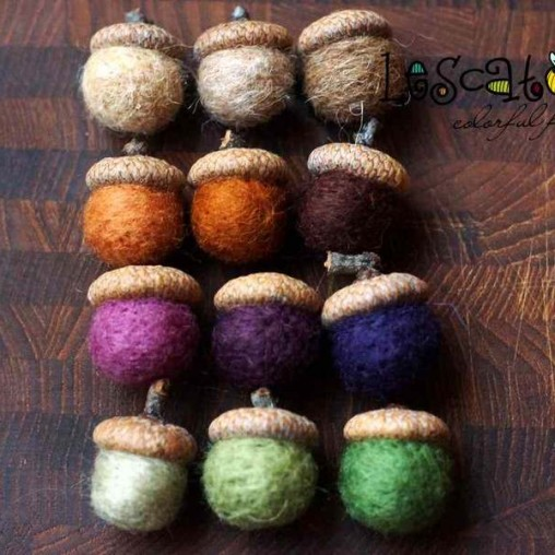 12 felted acorns in autumn...