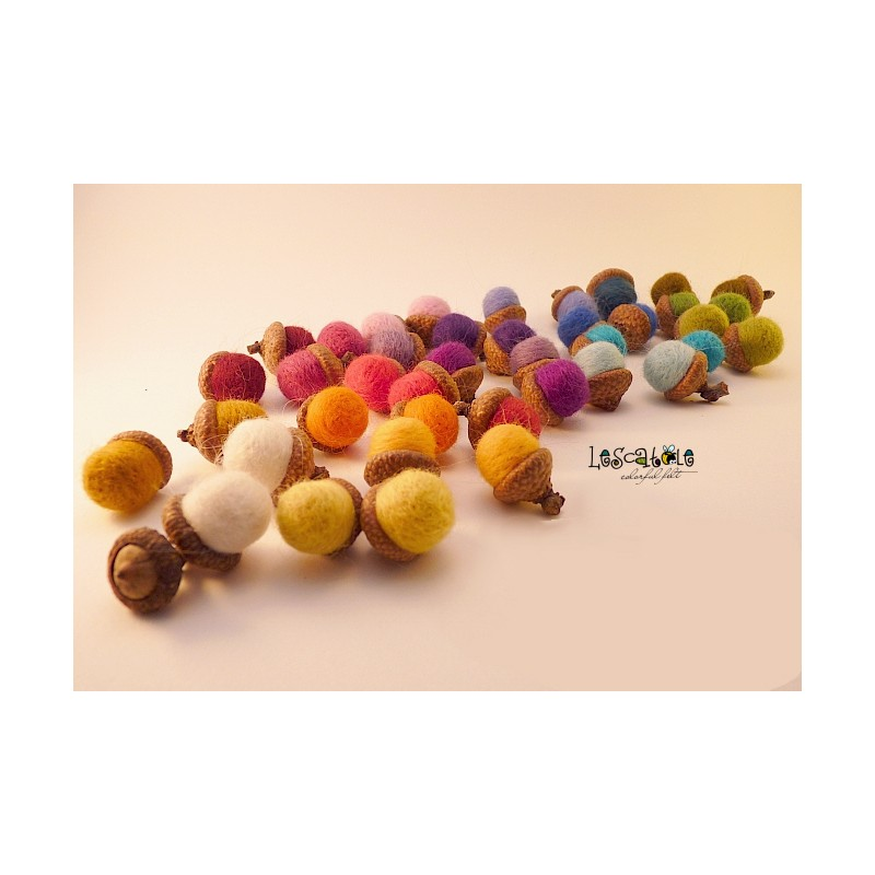 felted acorns in your favorite colors