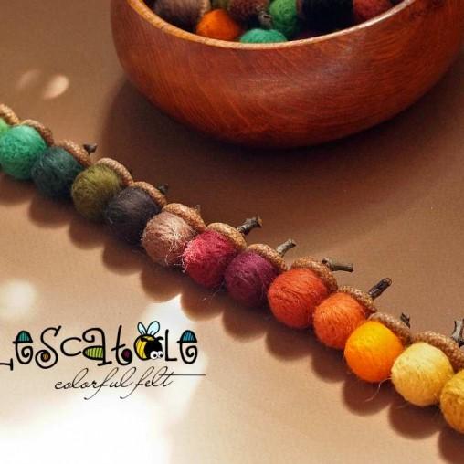 felted acorns autumn set