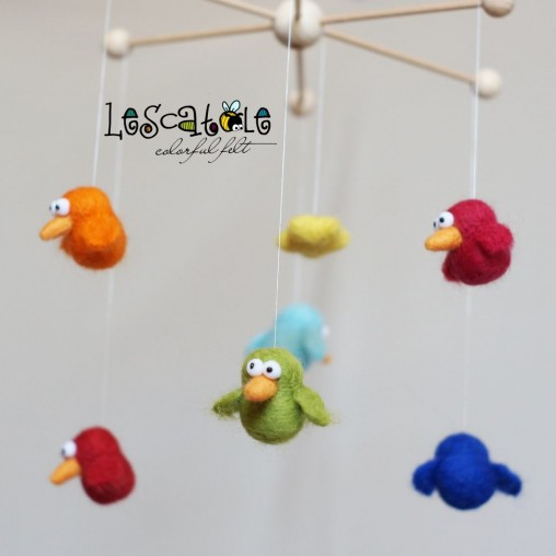 miniature mobile colorful birdies