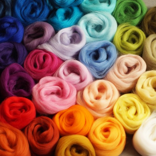 49 colors wool slivers set