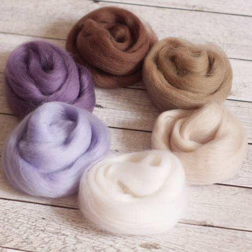 Wollset Lavendel & Beige