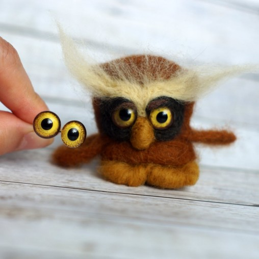 handmade glass eyes on wire - owl eyes