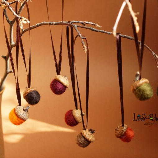 felted acorns with satin ribbons - autumn set