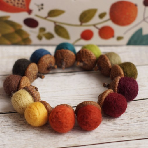felted acorns in autumn colors