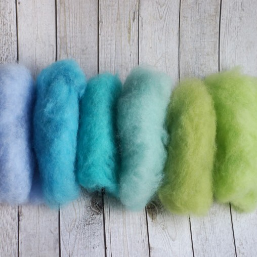 Newzealand wool set in blue and green tones