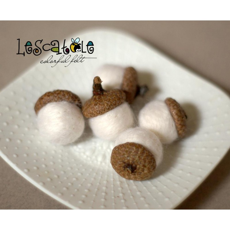 white felted acorns