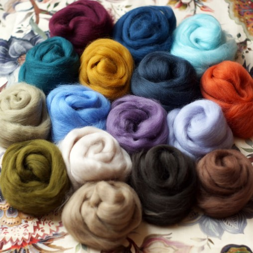 wool sliver set autumn colors