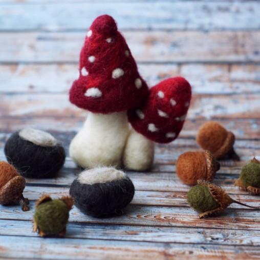 Gefilztes Dekoset mit Pilzen, Eicheln, Bucheckern und Kastanien