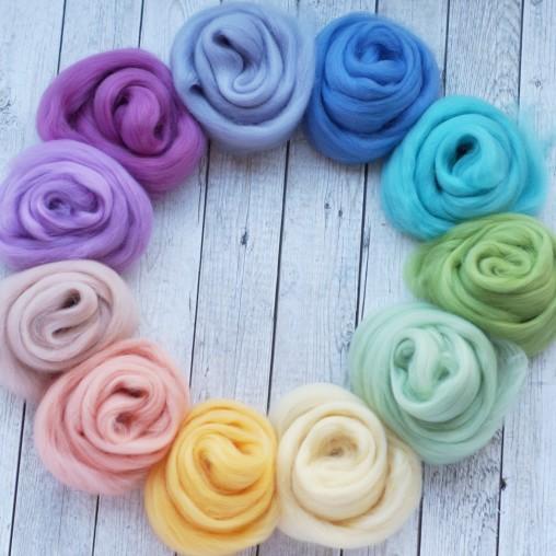 Wool sliver set 'Pastel' 110g
