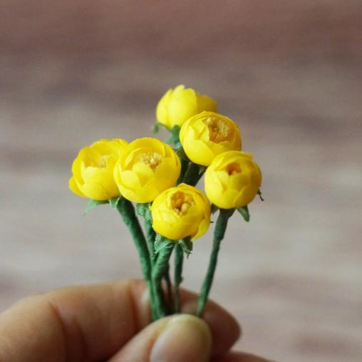 6 Dotterblumen - Seidenblumen