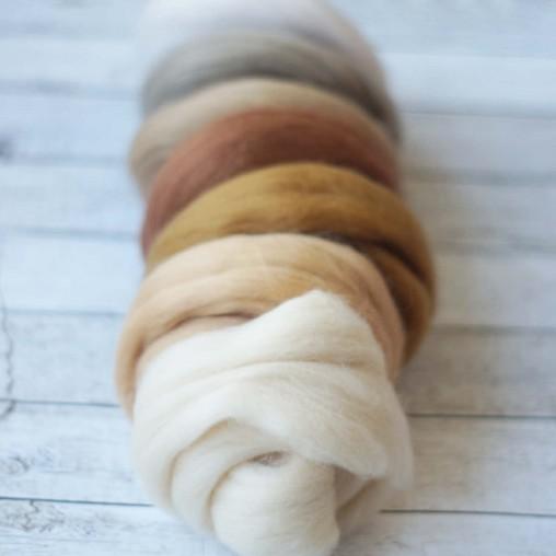 Wool sliver set 'beige...