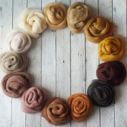 Wool sliver set 'beige &...