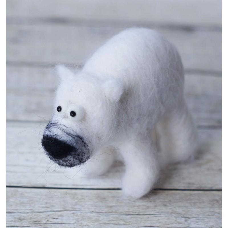 needlefelted polar bear