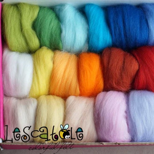 24 colors wool slivers set...
