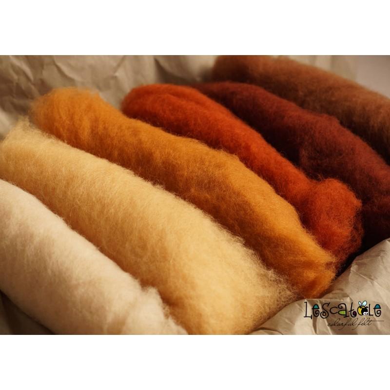 Filzwolle 100/% Wolle zum Filzen Trockenfilzen Nassfilzen Braun Kastanienbraun