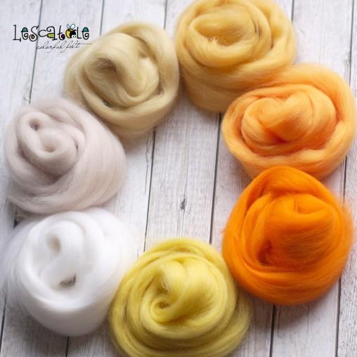Wool sliver set 'Sunny' 100g