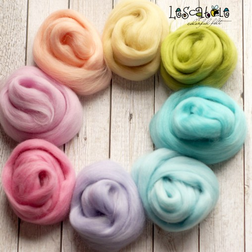 Wool sliver set 'Pastel' 100g