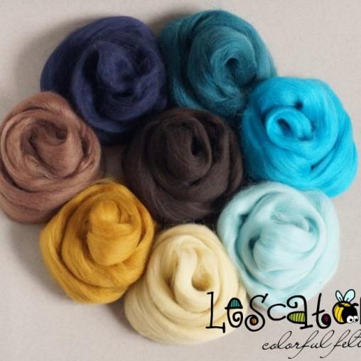 Wollset Blau- und Brauntöne