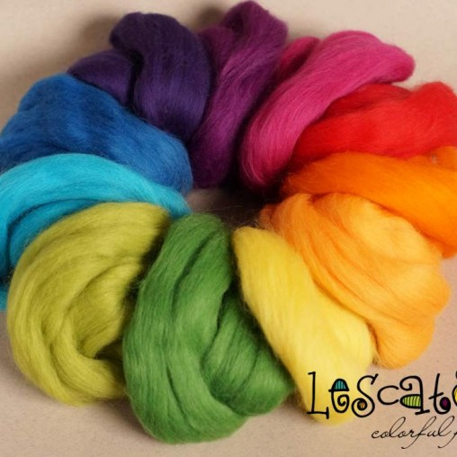 Wool sliver set 'Rainbow'...